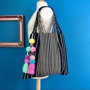 Handbags - Handwoven Mexican market bag, black & tan